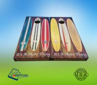 Beach Surfboard Themed Cornhole Corntoss Bags Wrap Woodgrain