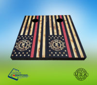 Red Line Flag Firefigher Wrap Retirement Personalized Flamed Wood Cornhole Corntoss Bags Party