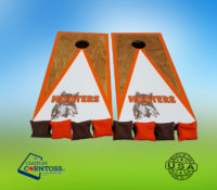 Three Color Triangle with Trim Stained Hooters Cornhole Corntoss Bags Custom