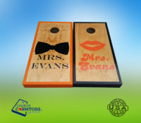 Wedding Mr Mrs School Color Cornhole Corntoss Bags Quality Weatherproof Gift Men Convention Red Oak Stained