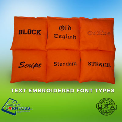 Text Embroidered Fonts for Cornhole Bags
