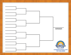 picture relating to Printable 16 Team Bracket referred to as Cornhole Match Brackets - Customized Corntoss