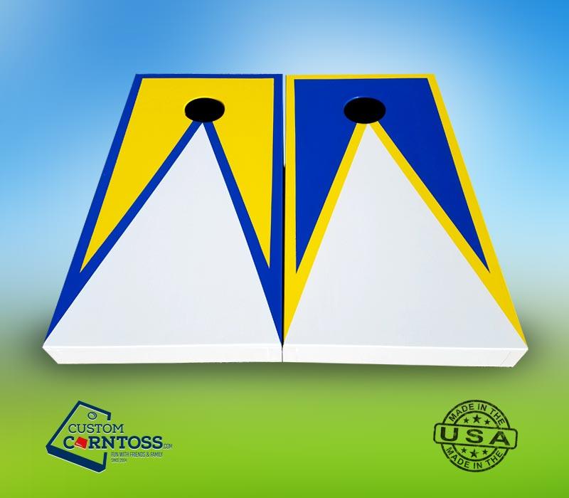 Three Color Cornhole Set With No Logo Three Color Triangle With Trim Design Builder